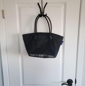 BURBERRY Blue Label Black Plaid Nylon Tote Bag